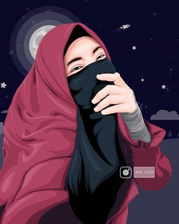 Gambar Kartun Berhijab Syar'i
