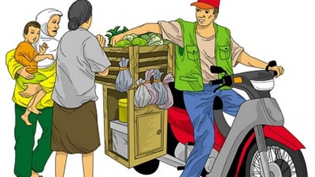 Gambar Kartun Pedagang Sayur