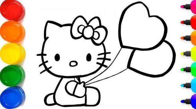 Gambar Hello Kitty Mewarnai