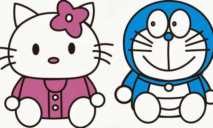Gambar Hello Kitty dan Doraemon