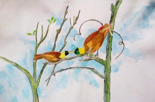 Sketsa Burung Di Atas Pohon