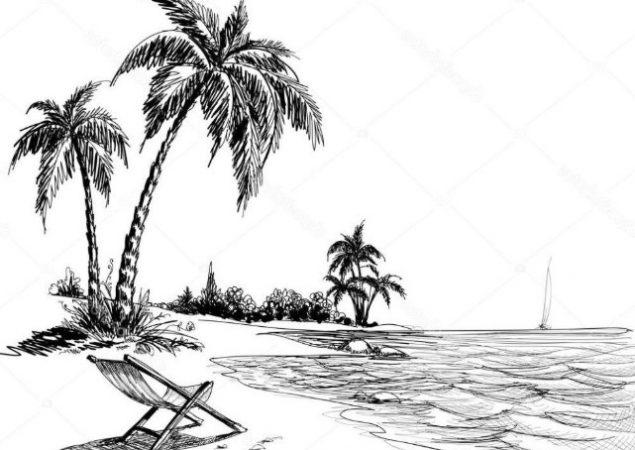 Sketsa Gambar Pemandangan Laut1