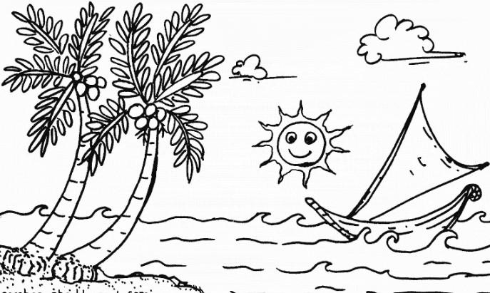 Sketsa Gambar Pemandangan Laut2