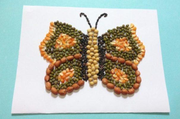 Sketsa Kupu-kupu dari Biji-bijian